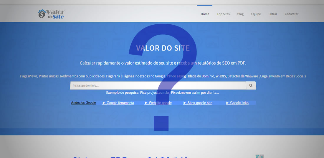 Como funcionar o Valor do Site?